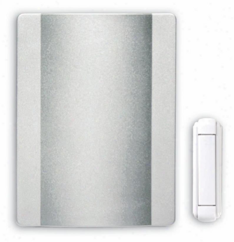 """Modern Satin Nickel Finish Wireless 4 1/2"""" Wide Door Set of ~d bells (k6392)"""