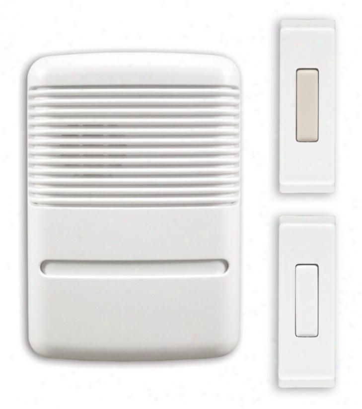"""Modern White Finish Wireiess 2-button 3 1/2"""" Wide Door Chime (k6411)"""
