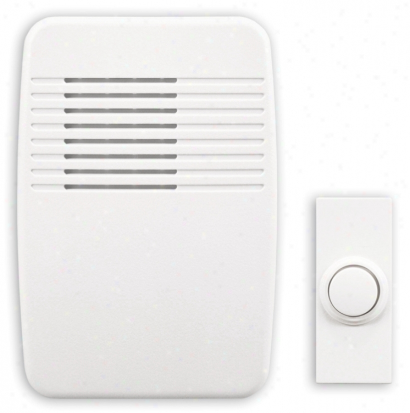 "Modern White Wireless Battery Powered 3 1/2"" Wide Door Chime (k6406)"