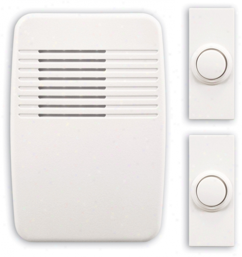Modern White Wireless Doorbell System With Two Buttons (k6405)