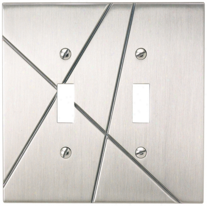 Modernist Brushed Nickel Double Toggle Wall Plate (78400)