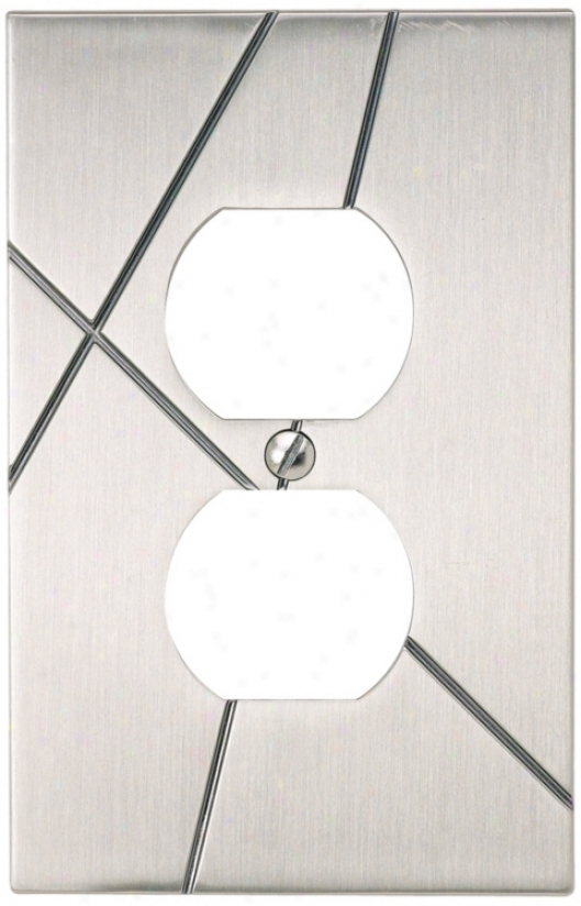 Modernist Brushed Nickel Power Outlet Wall Plate (78745)