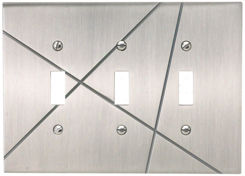Modernist Brushed Nickel Triple Toggle Wall Plate (79204)