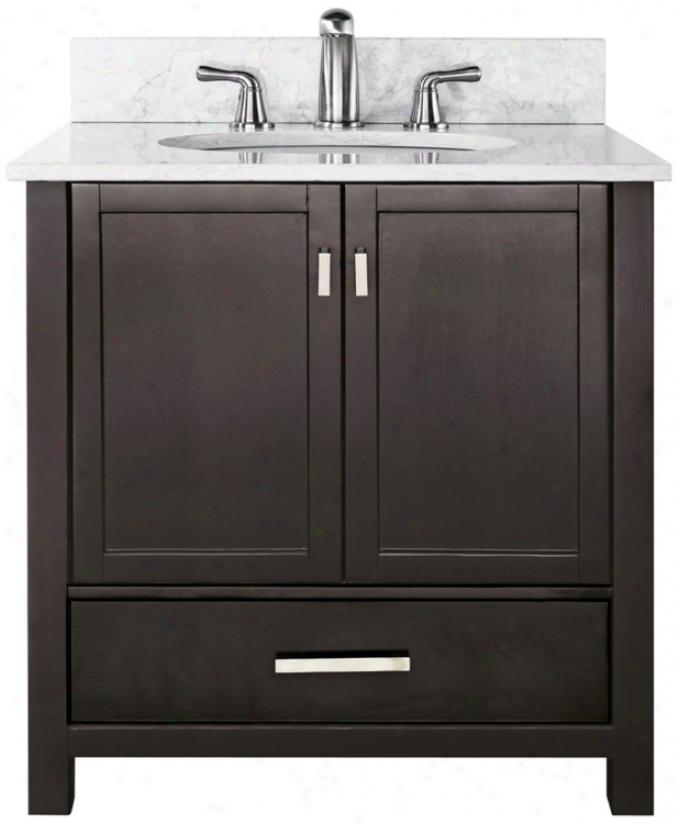 """Modero White Marble Top 37"""" Wide Sink Bath Vanity (u0333)"""