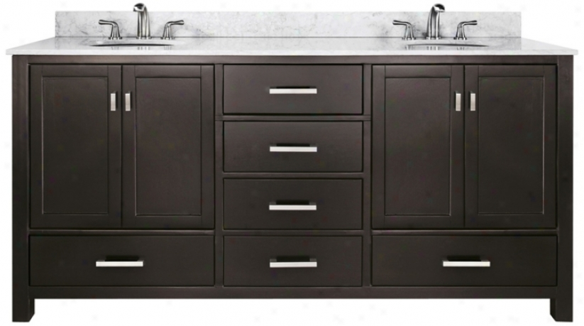 "Modero White Marble Top 73"" Wide Double-sink Bath Vanity (u0335)"