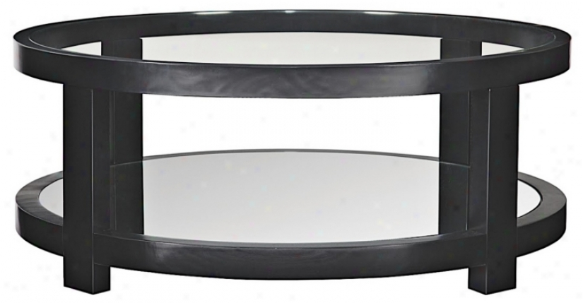 Moe Glass And Mirror Black Round Coffee Table (u4478)
