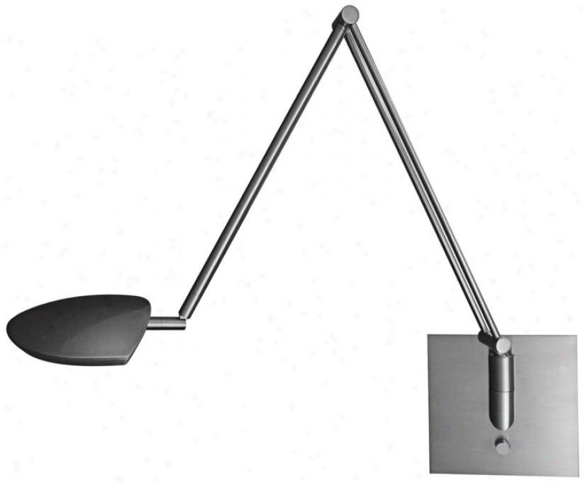 Mondoluz Pelle Brushed Platinum Led Swing Arm Wall Lamp (u7057)