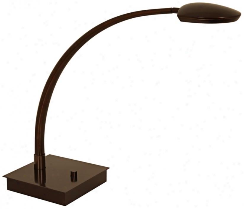 Mondoluz Pelle Curve Bronze Square Base Led Desk Lamp (v1572)