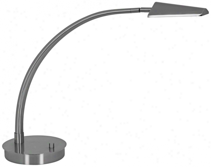 Mondoluz Ronin Curve Platinum Round Mean Led Desk Lamp (v1470)