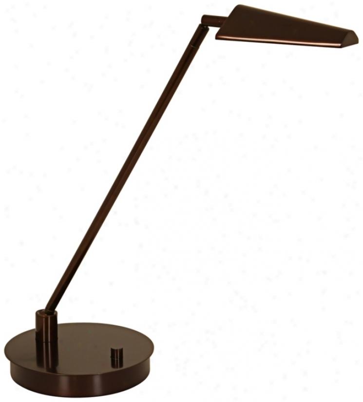 Mondoluz Ronin Straight Bronze Round Base Led Desk Lamp (v1459)