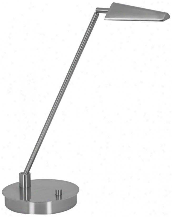 Mondoluz Ronin Straight Platinum Round Base Led Desk Lamp (v1457)