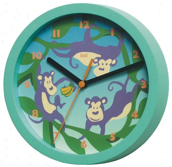 "Monkey And Banana 8"" Wide Childrens Wall Clkck (p7870)"