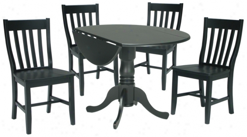Moss Finish Dual Drop Leaf Table And Chairs Dining Set (u4320)