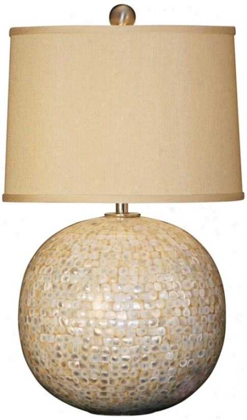 Mother Of Pearl Base Orb Table Lamp (g6817)