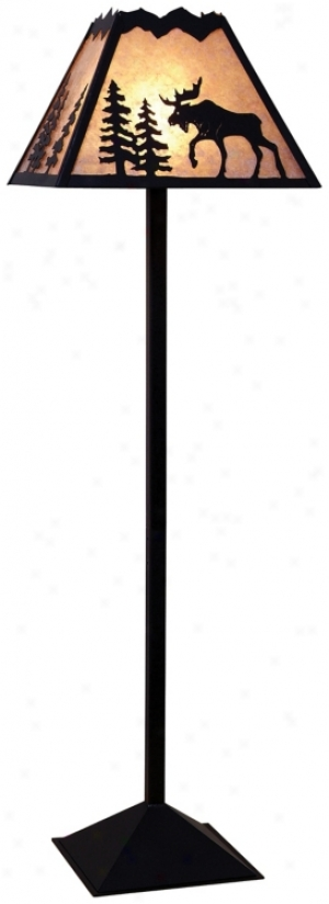 Mountain With Moose Mica Shade Floor Lamp (h3824)