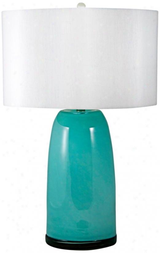 Mouth-blown Aqua Blue Glass Table Lamp (v2535)