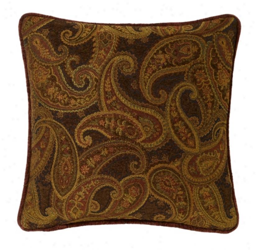 """Multi-bark Paisley 18"""" Square Pillow (g2921)"""