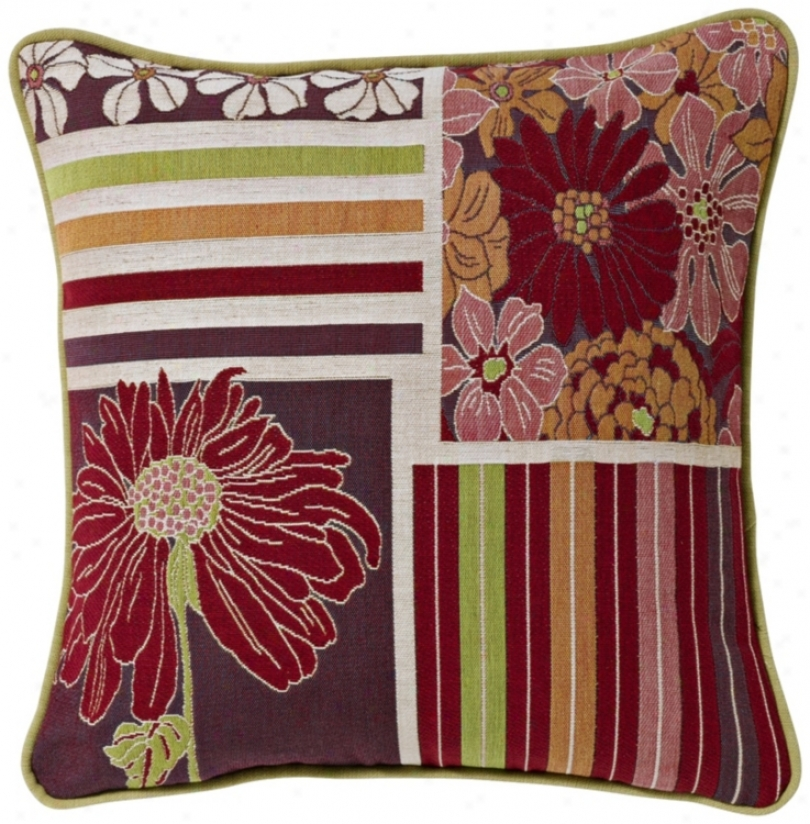 "Multi-stripe Daisies 19"" Square Pillow (g2880)"