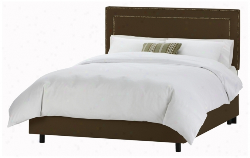 Nail Button Broder Headboard Chocolate Twill Bed (king) (p2551)