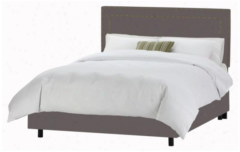 Nail Button Border Headboard Grey Twill Bed (cal King) (p2925)
