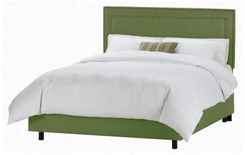 Nail Button Border Headboard Jungle Twill Bed (cal King )(p2928)