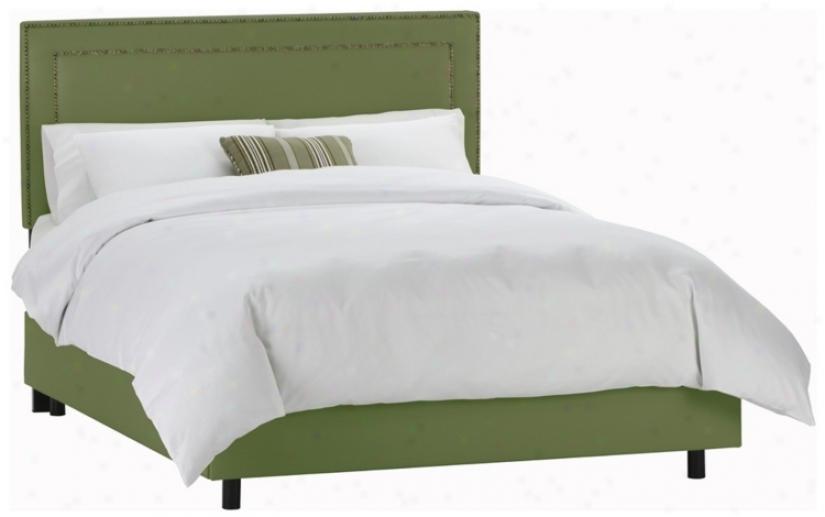 Nail Button Border Headboard Jungle Twill Bed (full) (n7822)