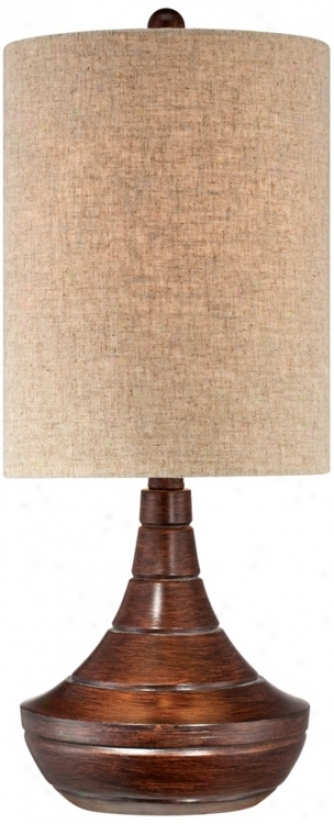 Fool Brown Wood Finish Modern Grooved Goutd Table Lamp (v1886)