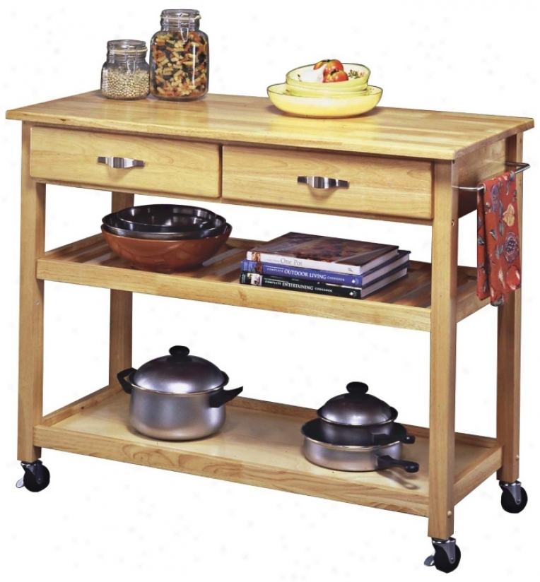 Natural Finish Solid Wood Slotted Shelf Kitchen Cart (u0392)
