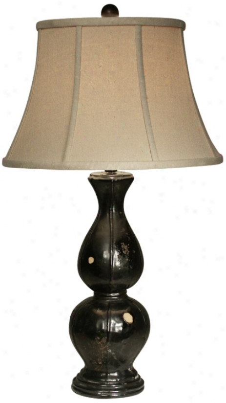 Natural Light Briana Black Finish Ceramic Twble Lamp (p5241)