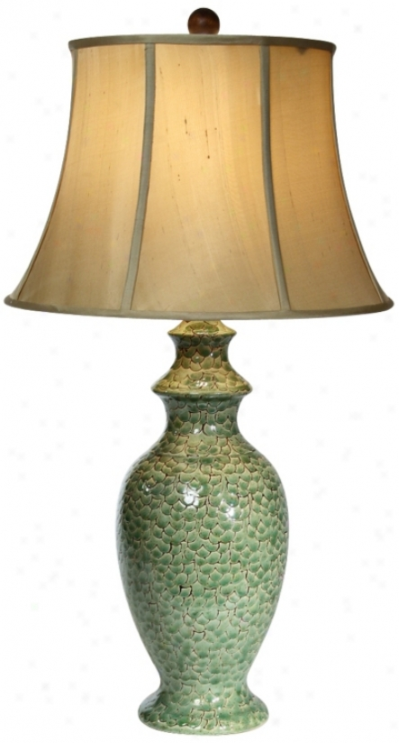 Natural Light Emerald Sea Ceramic Table Lamp (p5310)
