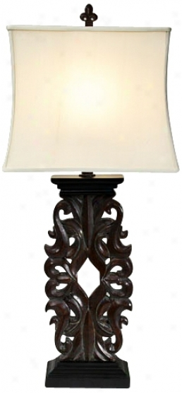 Natural Light Falcon Crest Wood Finish Table Lamp (p5232)