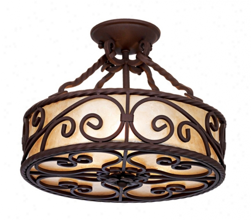 """Natural Mica Collection 15"""" Remote Iron Ceiling Light Fixture (91582)"""