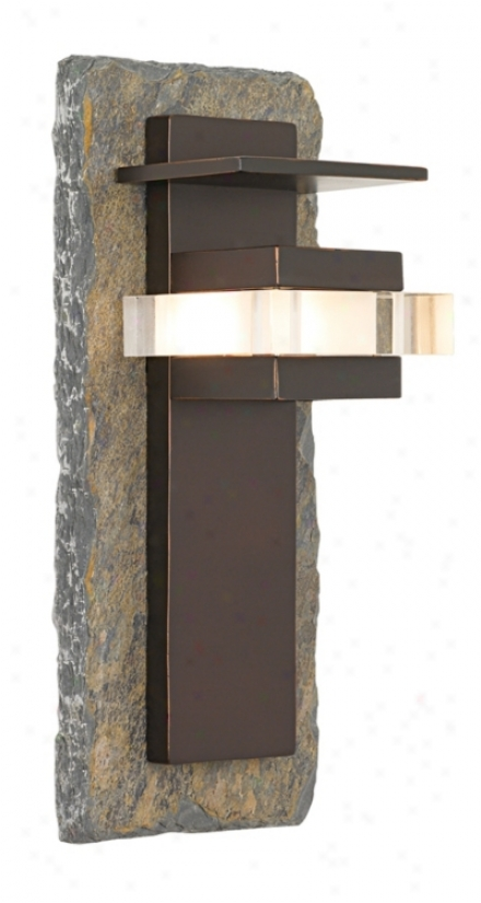 "Natural Slate And Bronze 15"" High Outdoor Wall Loght (42363)"