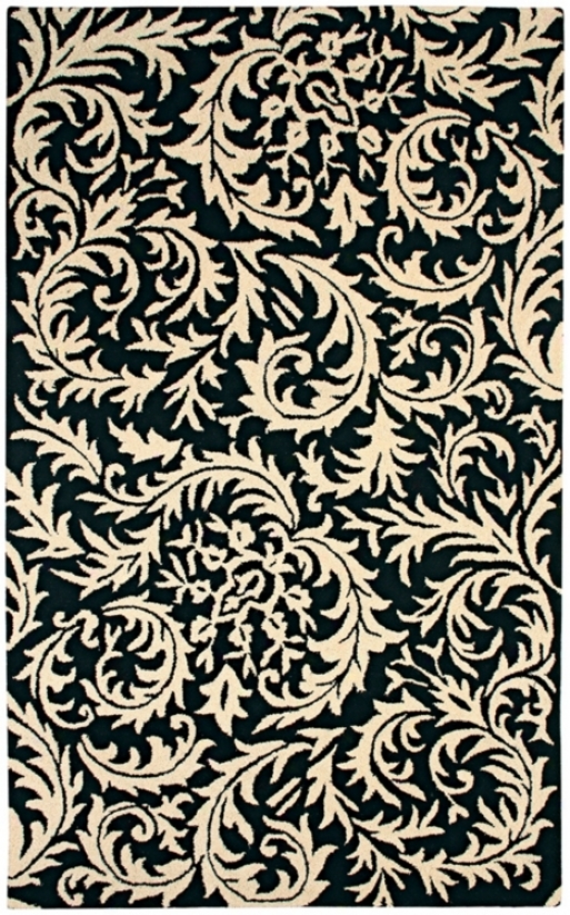 Natural Wool Collection Sawtooth Paisley 8'x10' Area Rug (k666)