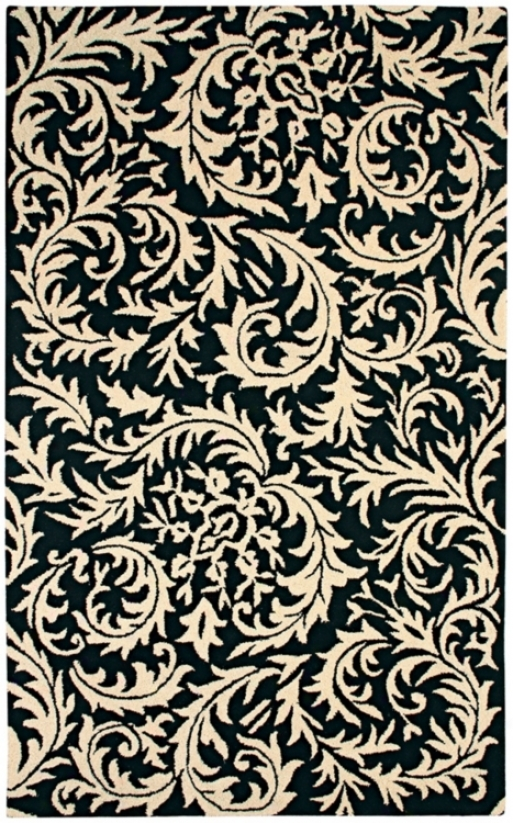 Natural Wool Collection Sawtooth Paisley Yard Rug (k6538)