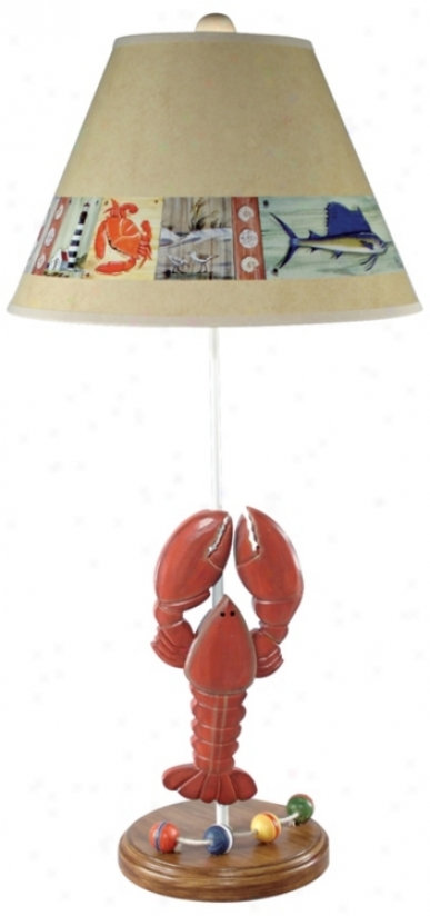 Nautical Lobster Table Lamp With Paul Brent Shade (g0607)
