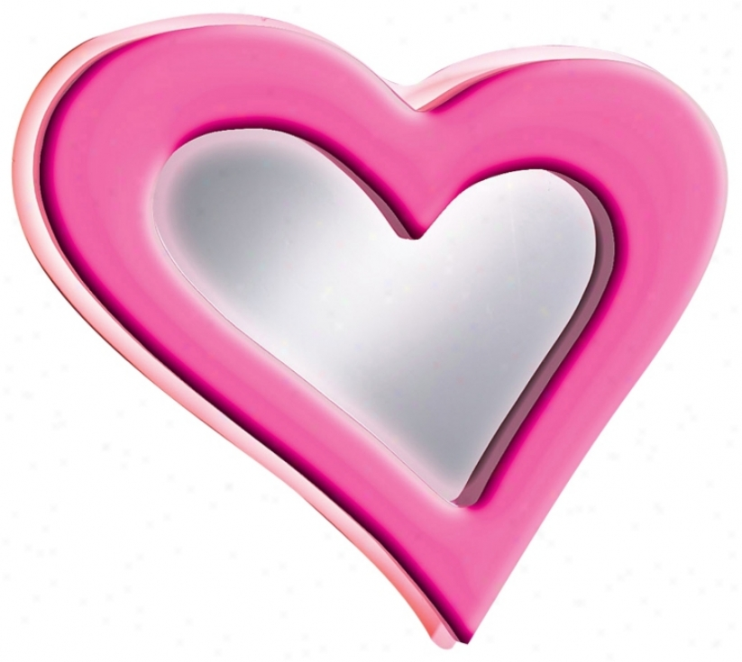 "Neon Pink Heart 23 1/2"" Wide Wall Mirror (00239)"