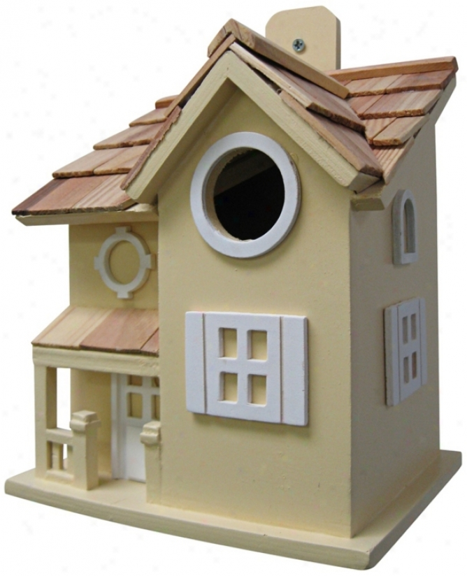 Nestling Cottage Yellow Birdhouse (t3215)