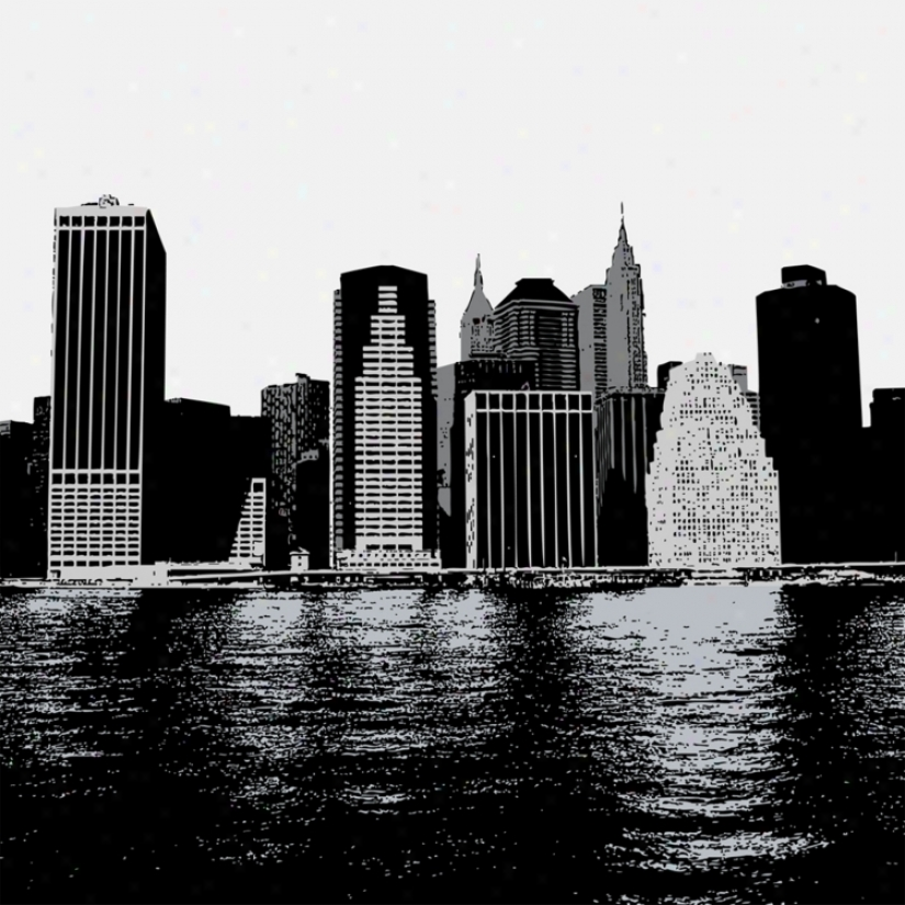 New York Skyline 26&quog; Square Black Giclee Wall Art (p3483)