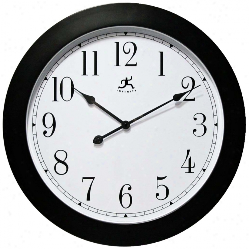 "Nexus 26"" Round Black Framed Wall Clock (w0997)"