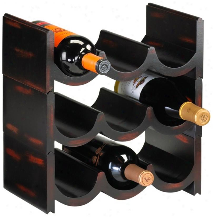 Nine Bottle Stackable Ebony And Brick Wine Storage Display (v1524)