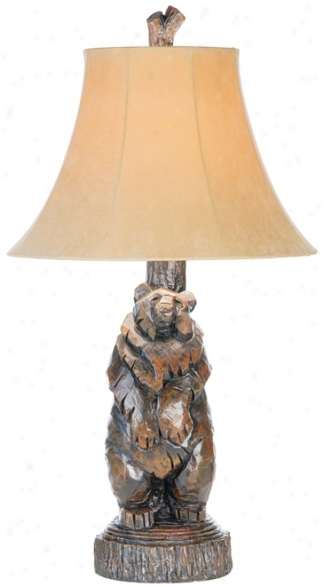 North Woods Standing Bear Black Table Lamp (34214)
