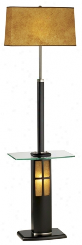 Nova Dark Wood And Glass Tray Floor Lamp With Darkness Light (19979)