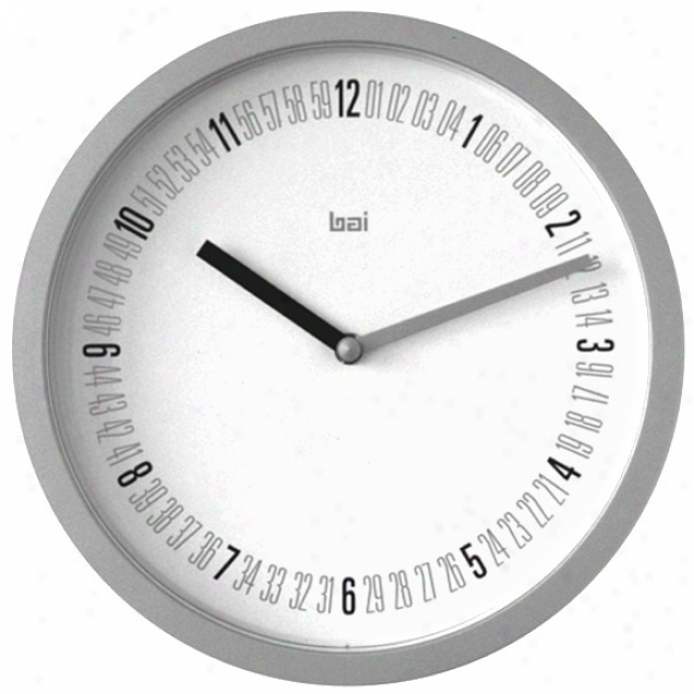 "Numeric Satin Silver Finish 10"" Wide Wall Clock (p7980)"