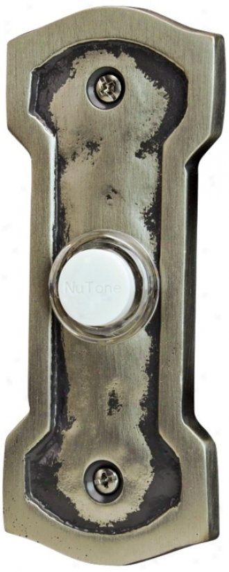 Nutone John Henry Pewter Wired Push-button Doorbell (t0150)