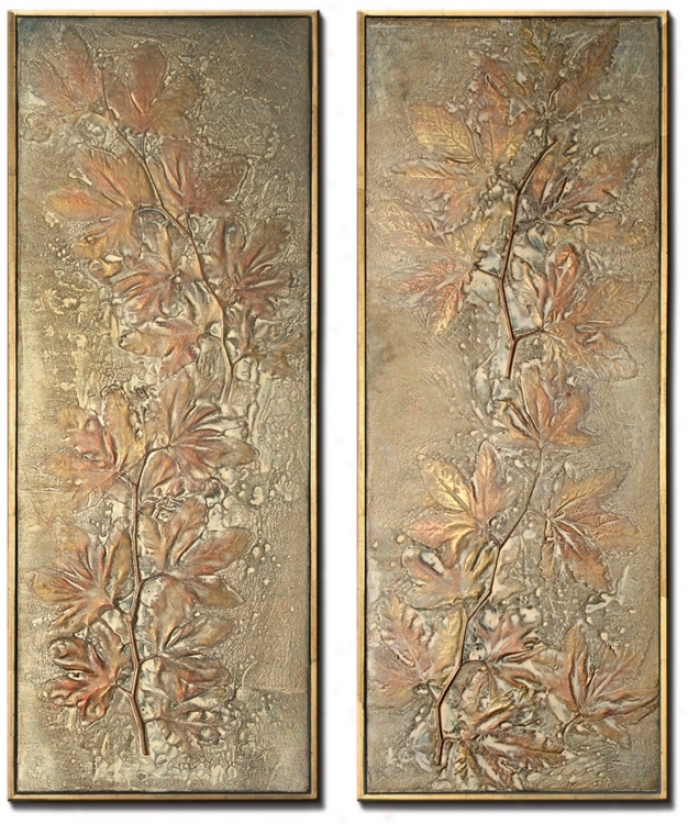 Oak Leaf Set Of 2 Decorative Wall Art Panels (m0481)