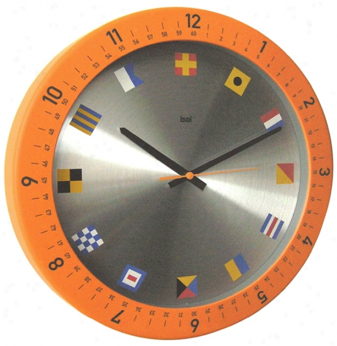 "Oceanmaster Orange 14 1/2"" Spacious Wall Clock (p8003)"