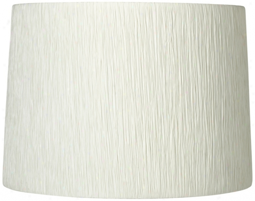 Off-white Paper Crinkle Drum Shade 13x14x10 (spider) (t6524)