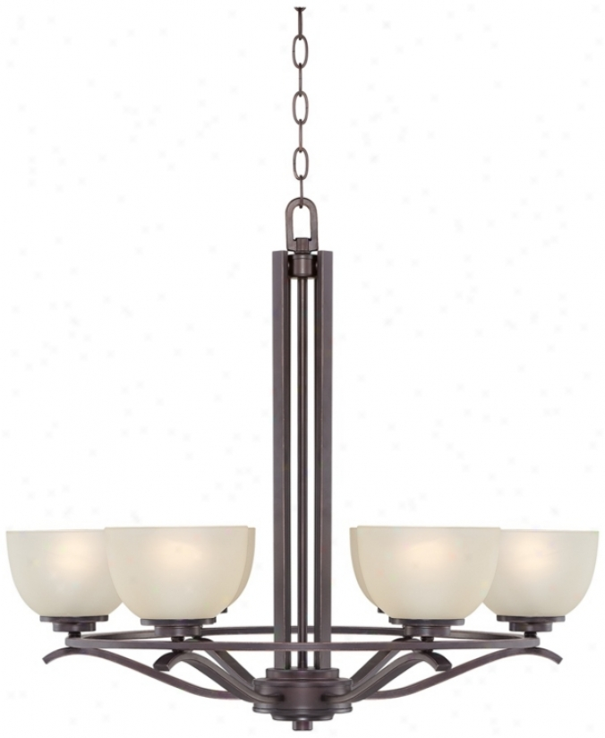 Oil Bronze Finish With Cream Glass 6-light Chandelier (p4386)