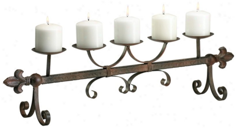 Old World Aged Rust Candleholder (r0754)
